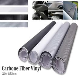 Carbono, fibra, vinil, branca, car on-line-Preto / Cinza / Cinza Claro / Branco DIY 3D Vinil De Fibra De Carbono Envoltório Filme Veículo Carro Folha de Rolo À Prova D 'Água 30x152 cm