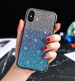 Iphone lado diamantes on-line-Gradiente de diamante de telefone Capa Para Iphone11 Side Bling Capa para iPhone 7 8 Plus XS MAX XR 11 Casos Rhinestone PRO MAX Luxo Perfurar