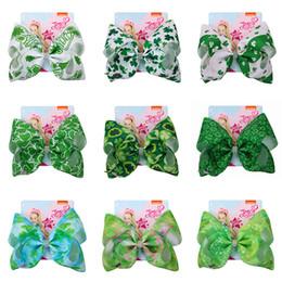 Pajarita verde online-Ins cuatro hojas Bowknot horquillas jojo bebés niñas Lucky Clover Barrettes niños verde pajarita horquilla niños primavera sombreros AAA1859