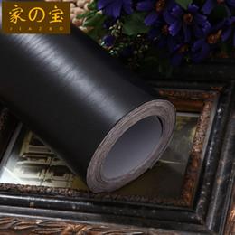 Madeira pvc autoadhesiva on-line-Pure preto grão de madeira auto-adesivo papel de parede Boeing filme móveis renovação adesivo gabinete renovação adesivo PVC