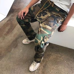 Fibbie sciolte online-RHUDE 18FW Pantaloni mimetici multi-tasca Ampia tasca fibbia con coulisse Tute da carico Uomo Sciolto Hip Hop Pantaloni RHUDE Nuovo arrivo