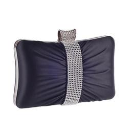 Diamantes plisados bolsos de noche para las mujeres Mini fruncido satinado bolso de embrague bolso monedero de cadena larga bolsas de hombro bolso de la fiesta desde fabricantes