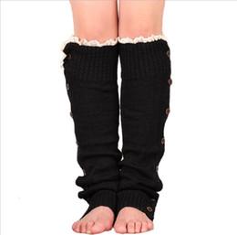 chaussettes à papillon en gros Promotion 2019 vente chaude femmes dames hiver garder au chaud belles jambières bouton crochet Crochet Knit 9 couleurs solide