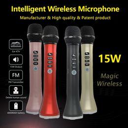 2019 karaoke-lautsprecher L-698 Professioneller 15W tragbarer USB-Drahtloser Bluetooth-Karaoke-Mikrofon-Lautsprecher mit dynamischem Mikrofon rabatt karaoke-lautsprecher
