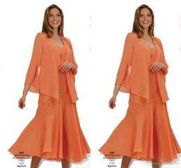 Laranja linha vestido de casamento on-line-2019 orange chiffon mãe dos vestidos de noiva com jaqueta 3/4 manga longa chá comprimento noite vestidos plus size vestidos de hóspedes do casamento