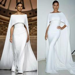 Wholesale Elegante Aabic Dubai White sirena vestidos de noche con largo cabo nuevo Bateau cuello mujeres modernas Prom vestido de fiesta vestidos formales por encargo