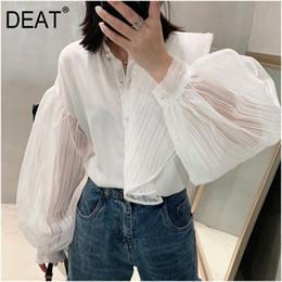 кнопки из жемчужной рубашки Скидка DEAT 2019 новая мода Женская одежда отложным воротником слоеного рукава жемчужные кнопки sexy высокое качество рубашка летняя рубашка WE38000L