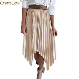 Jupe plissée à plus grande taille en Ligne-Mode Jupes Femmes Plus Size Jupes plissées Femmes Pure Color Demi-Longueur Plissée Taille Haute Femmes Plus Size Mai