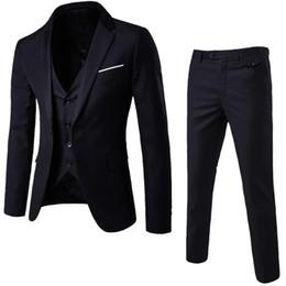 2020 mens calças de escritório LAAMEI Mens 3 Pieces (jaqueta + Vest + calças) Masculino Busines Vestido Slim Fit Ternos Sólidos Casual Escritório Ternos Outwear Asian L = US XS mens calças de escritório barato