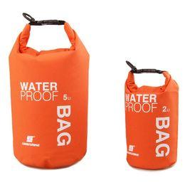 Schwimmausrüstung online-Großhandel-Neue 4 Farben 2L 5L Ultraleicht Tragbare Outdoor Wandern Rafting Wasserdichte Packsack Schwimmen Lagerung Camping Ausrüstung Travel Kits