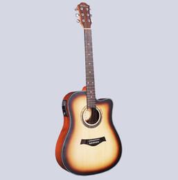 Guitarras elétricas iniciantes on-line-41 polegada folk guitarra acústica tipo caixa elétrica spruce Sapele iniciante de madeira faltando canto mid-range guitarra acústica frete grátis