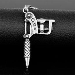 Maschinengewehr schlüssel online-HEYu Hip Hop Schmuck Männer Gun Anhänger Schlüsselbund Schlüsselring Tattoo Maschine Schlüsselhalter Metall Zubehör Porf Clef