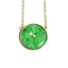 Jadeite colares on-line-Projeto NIJIN é simples e cheio de verde Mianmar Um jadeite rodada clavícula cadeia colar AU750 ouro