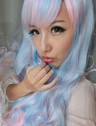 2019 peluca lolita resistente al calor Peluca Peluca Cosplay Peluca Lolita Harajuku Larga, resistente al calor, Pelo largo y rizado Mezcla azul Pelucas para niñas rosa peluca lolita resistente al calor baratos
