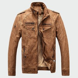 khaki motorcycle jacket Promo Codes - KUDE Mens Leather Jackets Winter Warm Faux Fleece Plus Thick Warm Coats Biker Motorcycle Velvet Windproof Outerwear 4XL 7479