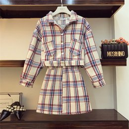 gonna di giacca delle donne Sconti 2018 Autunno Moda Donna Casual Plaid Jacket coat + Skirt Set 2 pezzi Donna All-match Tute A470