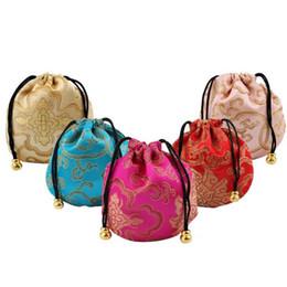 Bolsas de regalo de brocado chino online-Pequeña bolsa de almacenamiento de la bolsa de la joyería de brocado de seda tela china lazo regalo empaquetado Coin Pocket Wholesale Y0003
