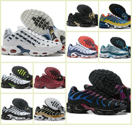 Zapatillas de malla de colores online-Tn por mayor más los zapatos de los zapatos corrientes de malla transpirable Tn de los hombres de diseño barato Tn Requin Chaussures las zapatillas de deporte coloridas 2019 de Air