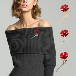 Senhoras senhoras roupas elegantes on-line-Forma livre DHL Flor elegante chique Poppy Broches Pinos Ladies Dress Roupas Decoração broche de Acessórios Jóias Presentes
