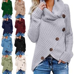 casaco de tartaruga Desconto Mulheres Botão camisola de malha Casual lã Turtle Gola subida Crocheted Enrole pulôver Chunky Aqueça Xmas Outwear Brasão LJJA3283-4