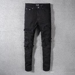 männer s eng anliegende hose Rabatt 2019SS New Fashion High Stree AMIRI Black Stretch Tight Jeans Herren-Falten-Patch-Slim Fit Leg-Hosen-freies shippin