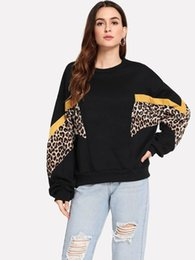 2019 hoodie del leopardo del invierno de las mujeres Nuevas Sudaderas Con Capucha Otoño Invierno Mujeres Tops Moda Casual Top Leopardo Imprimir Sudaderas Con Capucha Patckwork de manga larga suelta S-XL hoodie del leopardo del invierno de las mujeres baratos