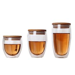 Promosyon Çift Cam Bardak Kahve Kupalar Çay Bardağı Şeffaf Isıya dayanıklı Cam Bardak Bambu Yalıtım Fincan Kapağı Ile Yaratıcı Toptan nereden