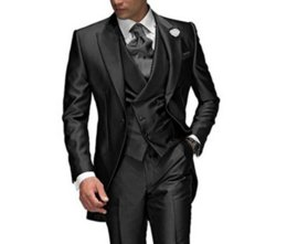 groom s men suit sets Coupons - 2020 Business Charcoal Grey Men's Suit Peaked Lapel 3 Pieces 1 Button Groom Tuxedos Wedding Suit for Men Set Custom Made(Jacket+