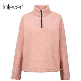 Suéter de invierno de corea online-Ocasional de las mujeres sueltas sudaderas con capucha de color rosa mujer otoño invierno cálido Shaggy sudaderas con capucha Lady Pullover Mujer coreana Tops Talever