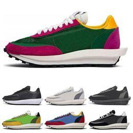 2019 чистая кожа низкой повседневной обуви Nike Sacai LDV Waffle Вафельные кроссовки для мужчин Женщины черный белый серый сосновый Зеленый Gusto Varsity Blue мужские спортивные кроссовки Размер 36-45