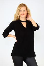 Blusa de pérola negra on-line-pianoluce Schier Mulheres Collar Blusa Black Pearl camisola Detalhe 2277