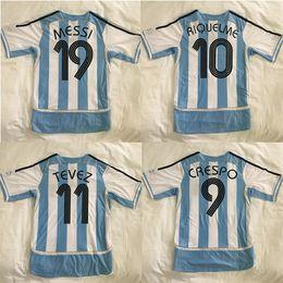 Jersey di qualità del messi online-retrò ARGENTINA 2006 MARADONA MESSI RIQUELME CRESPO TEVEZ divise da calcio maglie da calcio maglie di qualità tailandese qualità thailandese maglie di calcio