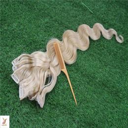 Clipe de cabelo platina on-line-Clipe de Cor loira Platinum Em Extensões de Cabelo Real Clipe Em Extensões de Cabelo Humano 100% 7 Peças / 100G Extensões de Cabelo de Trama Duplo