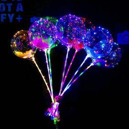 111 воздушных шаров Скидка LED мигающий воздушный шар прозрачный световой подсветки шарики BOBO воздушные шары с 70см полюс 3M строка воздушный шар рождественские украшения свадьба продажа