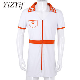 vestito dal costume del medico Sconti Fancy Dress Men Cosplay sexy medico infermiera medico Costume Cosplay uomini sexy costume manica corta V Neck Zippered Mini Fancy Dress