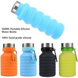 550 ML 19 oz Taşınabilir Geri Çekilebilir Silikon Su Şişesi Katlanır Katlanabilir Kahve Su Şişesi Seyahat Içme Şişe Bardak Kupalar BPA Ücretsiz nereden