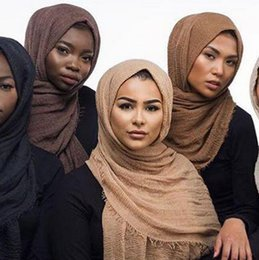 fester roter schal chiffon Rabatt Mehrfarbiger, monochromer Knick aus Baumwolle und Leinen 180-100 extra langer muslimischer Damenring aus Samt mit Kapuze