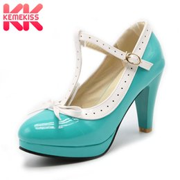 2019 bombas para calçado Kemekiss tamanho 32-48 mulheres saltos altos sapatos arco t cinta bombas de sapatos de verão mulheres senhora do escritório da plataforma diária dress calçado festa desconto bombas para calçado