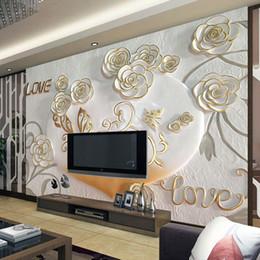 2019 murales romantici della camera da letto Personalizzato 3D Photo Wallpaper 3D stereoscopico in rilievo europeo romantico camera da letto TV sfondo muro murale carta da parati rotolo Home Decor sconti murales romantici della camera da letto