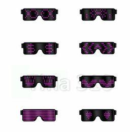 Gafas de sol brillantes online-8 Modos de flash rápida USB de carga USB Led luminosos Partido Gafas de sol Resplandor de la luz del concierto Juguetes de Navidad decoraciones de 5181