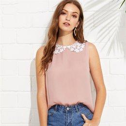 camisolas sem mangas Desconto Rosa formal em torno do pescoço sem mangas contraste gola botão blusa verão mulheres fim de semana camisa casual top