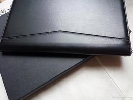 suporte para cartão de papel Desconto Novo chega pasta entrevista pasta de arquivo de couro preto PU / Carteira de Negócios expansível Documento Agenda de escrita escritório presentes