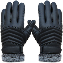 83545e3193f97 Warm Touch Screen PU Leather Men Gloves Winter Gloves for Driving Cycling
