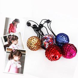 Corde à cheveux blancs en Ligne-Sequin Mousse De Cheveux Corde De Pin Cone Ball Bijoux Pour Enfants Colis Double Tie Cheveux Blanc Rouge Jaune 1