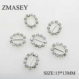 Hebilla de cristal oval online-100 unids / set 15 * 13mm de Plata Oval Rhinestone Hebillas de Joyería de Ajuste Hebilla de Cristal para Vestidos de Mujer BeltShoes Tarjeta de Boda decoración