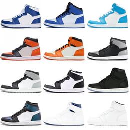 Anéis esportivos on-line-Novos sapatos de instrutores de grife 1 Chicago OG Calçados Esportivos Mens 1S 6 anéis Sapatilhas Bred Toe mulheres ao ar livre MID Novos Sapatos Casuais tamanho 36-46