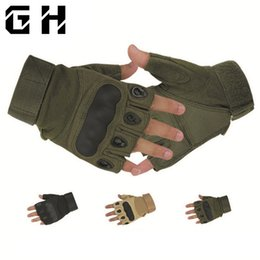paintball tactical Promo Codes - Tactical Fingerless Gloves Military Army Sports Shooting Paintball Airsoft Outdoor Carbon Knuckle Half Finger Gloves