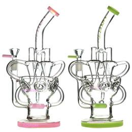 Bongos de vidro roxo on-line-Bongo de vidro Dab Rig Recycler Oil Rigs impressionante ciclone triplo em linha braço inebriante bongos artes perc tubos de água tigela quartzo banger roxo tubulação