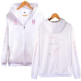 hoodie coreano zipper Desconto Bts hoodie kpop amor yourself zipper camisola mulheres hoodies outono coreano feminino streetwear k pop roupas