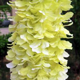 colgando cuerdas flores Rebajas 10 unids 1 m Rattan Wisteria String Simulación Square Holiday Wall Hanging Hortensia Cesta de la boda Artificial flor Vine arco DIY